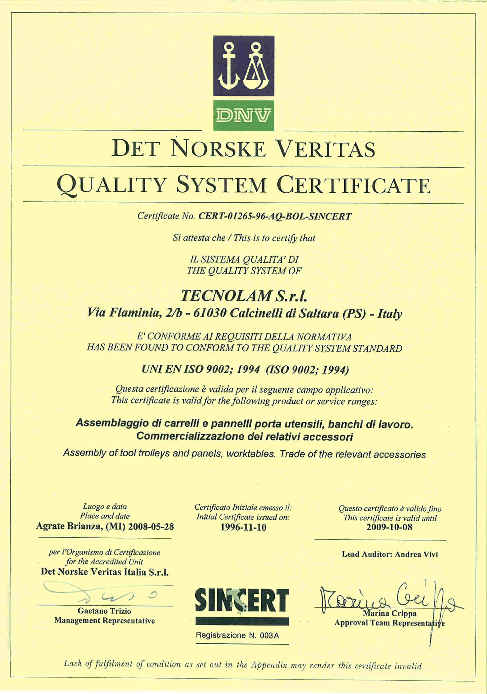 Zertifikat DIN EN ISO 9002 Tecnolam Fahrzeugeinrichtungen