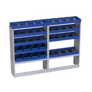 6 Regale Ti-Car Tecnolam für Kastenwagen Nissan Nv400 L1 linke Seitenwand mit verlegbaren Trennwänden - 2 Regale mit herausnehmbaren Behältern für Werkzeuge - offene Radkastenverkleidung