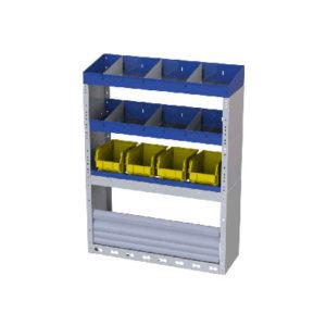 Regalsystem für Kleintransporter Peugeot Bipper - 2 Regale mit verschiebbaren Trennwänden, 1 Regal mit herausnehmbaren Behältern für Werkzeuge, 1 Radkastenverkleidung mit Schwingtür