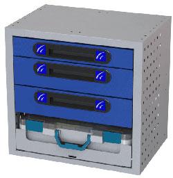 Schubladen Box für Transporter Tecnolam mit 3 Schubladen und 1 abnehmbaren Werkzeugkoffer
