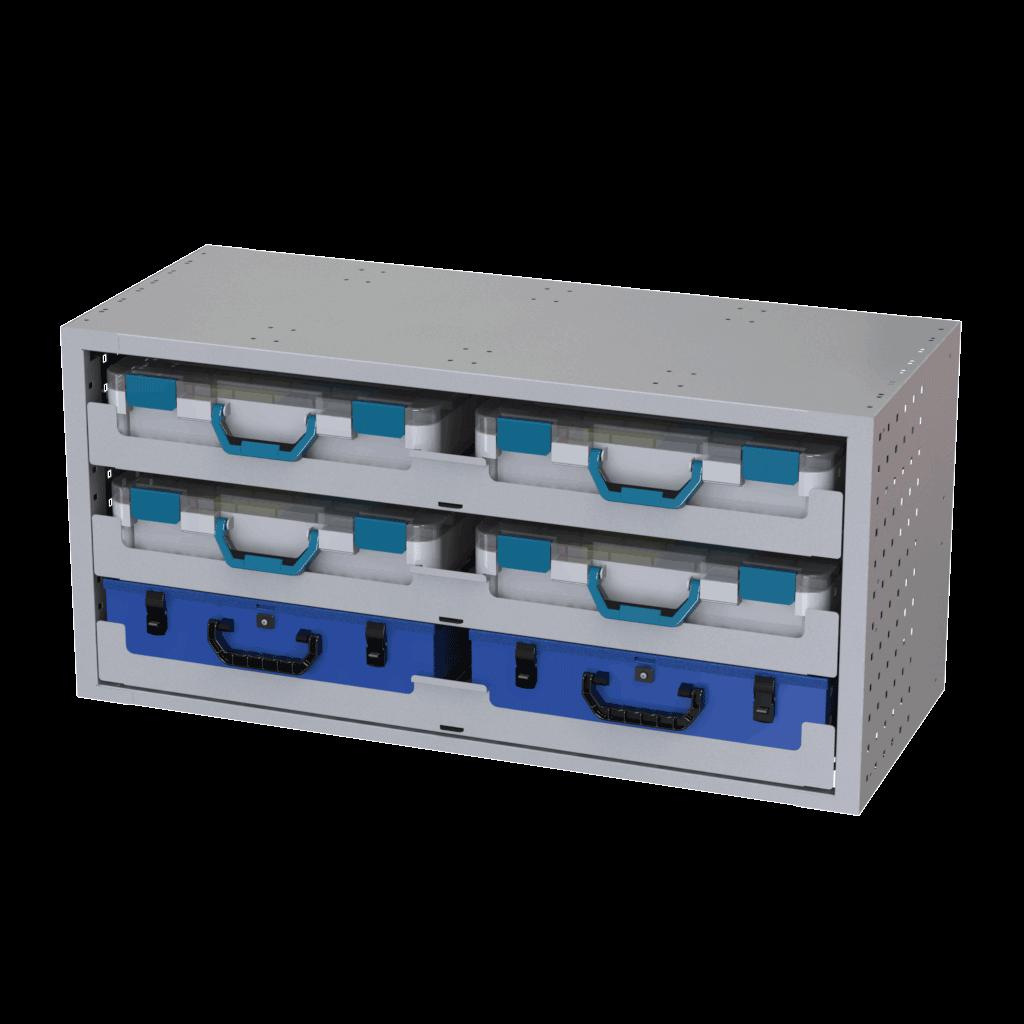 Schubladenschranck Tecnolam mit 6 Werkzeugkoffer