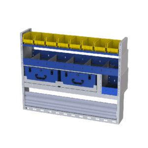 Fahrzeugeinrichtung vw Caddy - Regalsystem mit abnehmbaren Werkzeugkoffer, Behältern und einer Radkastenverkleidung