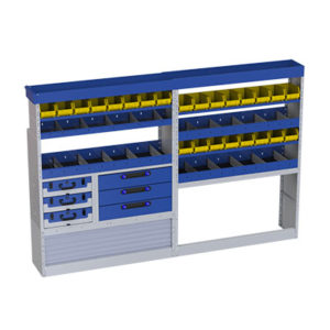 Reglasystem für Tranporter Iveco Daily mit Schubladen, Werkzeugkoffern, herausnehmbaren Behältern für Kleinteile und 2 Radkastenverkleidungen