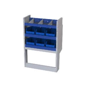 3 Fahrzeugregale für Kastenwagen Fiat Doblò Cargo 2755 mm rechte Seitenwand mit Trennwänden, 6 herausnehmbaren Behältern und Radkastenverkleidung