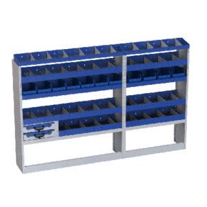 Regalsystem aus Stahl für Fiat Ducato Lang 3450 - 7 Regale mit Teilern, 2 herausnehmbaren Werkzeugkoffer, 11 herausnehmbaren Behälter aus Kunststoff für Kleinteile und Werkzeuge, Radkastenverkleidung