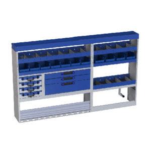 Regalsystem für Fiat Ducato Lang 3450 linke Wand: Regale,1 Rinne, 4 herausnehmbaren Werkzeugkoffer und Behälter für Kleinteile und Werkzeuge, Schubladen, Radkastenverkleidung