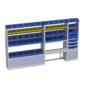 Ragalsystem für Transporter Iveco Daily mit 3 herausnehmenden Werkzeugkoffer, 9 Regalen, 16 herausnahmbaren Behalter für Werkzeuge, einer offenen Radkastenverkleidung