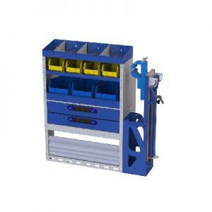 Regalsystem mit Schubladen, herausnehmbaren Werkzeugkoffer und Radkastenverkleidung für VW Caddy