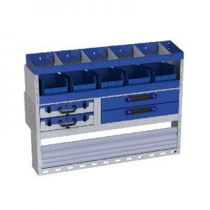 Regalsystem für die Fahrzeugeinrichrung des Tranporters VW Caddy - Radkaste, Werkzeugkoffer, 4 Schubladen, Fahrzeugregale mit Teilern und abnehmbaren Behältern