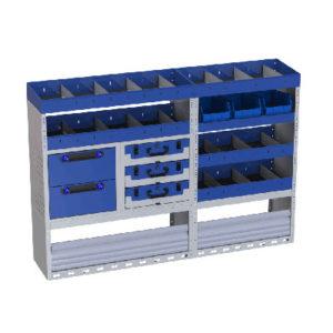 Fahrzeugeinrichtung Vivaro - Regalsystem Tecnolam Ti-Car mit 4 Regalen, 2 Schubladen, 3 herausnehmbaren Werkzeugkoffern, Radkastenverkleidung mit Schwingtür und Behältern für Werkzeuge