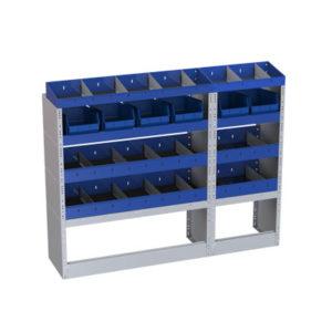 5 Fahrzeugregale von Tecnolam Fahrzeugeinrichtungen für Transporter Nissan Nv200-linke Seitenwand mit verlegbaren Trennwänden-2 Regal2 mit herausnehmbaren Behältern für Werkzeuge-2 offene Radkastenverkleidungen