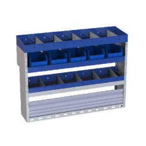 Fahrzeugregal aus Stahl für Transporter Peugeot Partner mit Trennwänden und herausnehmbaren Behältern für Werkzeuge und Kleinteile