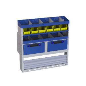 Regalsystem für die linke Wand des Fiat Fiorino - 3 Regale mit Trennwänden und herausnehmbaren Behältern aus Kunststoff, 2 Schubladen, 1 Radkastenverkleidung