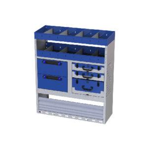 Regalsystem Transporter Fiat Scudo rechte Wand Ti-Car Tecnolam - 2 Regale mit Trennwänden, 3 herausnehmbare Werkzeugkoffer, 2 Schubladen, 1 Radkastenverkleidung mit Schwingtür