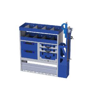 Fahrzeugeinrichtung Fiat Scudo - Regalsystem mit Schraubstock, Radkastenverkleidung, 2 Regalen, 3 herausnehmbaren Werkzeugkoffer, 2 Schubladen