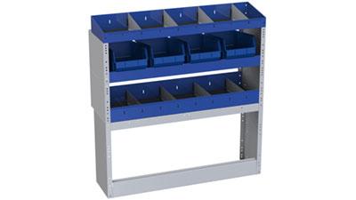 3 Fahrzeugregale aus Stahl für Transporter Ford Connect mit Trennwänden und 4 herausnehmbaren Behältern aus Kunststoff für Werkzeuge und Kleinteilen
