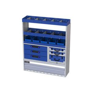 Regalsystem für Iveco Daily - 1 Radkastenverkleidung mit Schwingtür - 3 Regale mit Trennbaren Wänden und herausnehmbaren Behälter für Schubladen - 3 Schubladen - 3 herausnehmbare Werkzeugkoffer