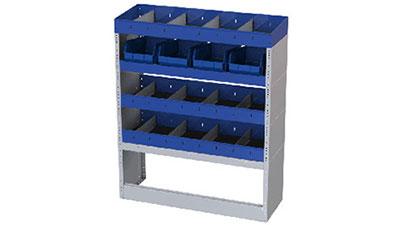 4 Fahrzeugregale für Opel Vivaro mit Trennwänden, 4 herausnehmbaren Behältern aus Kunststoff für Werkzeuge, 1 offener Radkastenverkleidung