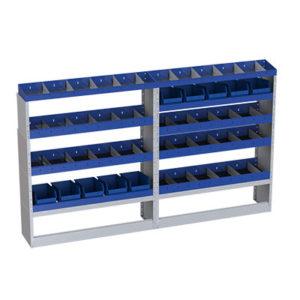 Einbairegal für Transporter Iveco Daily mit herausnehmbaren Behältern für Werkzeuge und verstellbaren Trennwänden