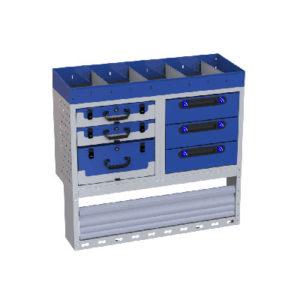 Regalsystem für Fiat Fiorino 2513 Radstand - 1 Regal mit Trennwänden, 3 Werkzeugkoffer, 3 Schubladen, 1 Radkastenverkleidung