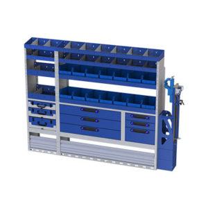 Regalsystem mit integriertem Schraubstock für Iveco Daily - 3 herausnehmbare Werkzeugkoffer 5 Regale mit trennwänden - 14 herausnehmbare Behälter für Kleinwerkzeuge - 2 Radkastenverkleidungen
