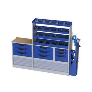 Regalsystem mit Schraubstock, 9 Schubladen und 1 Arbeitsplatte für Transporter Iveco Daily