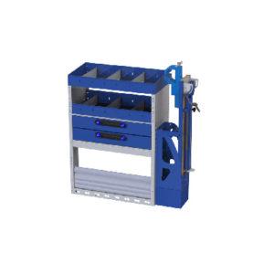 Regalsystem für Fiat Doblò Cargo Ti-Car Tecnolam - 2 Regale mit Trennwänden, 2 Schubladen, 1 Schraubstock, 1 Radkastenverkleidung mit Schwingtür