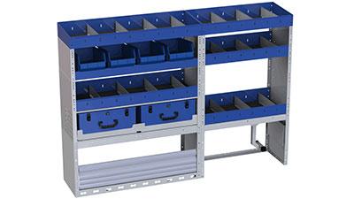 Regalsystem für Fiat Scudo - 5 Regale mit Trennwänden und herausnehmbaren Behälter für Werkzeuge, 2 heraunehmbaren Werkzeugkoffer, 1 Radkastenverkleidung mit Schwingtür, 1 offene Radkastenverkleidung