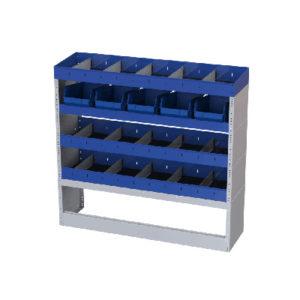 4 Regale aus Stahl für Transporter Fiat Talento 3498 mm Radstand rechte Wand Ti-Car Tecnolam mit 5 herausnehmbaren Behälter aus Kunststoff für Kleinteile und Werkzeuge und 1 offene Radkastenverkleidung