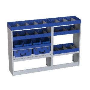 Regalsystem Fiat Talento Radstand 3098 mm linke Wand - 4 Regale mit Trennwänden, 2 herausnehmbare Werkzeugkoffer, 1 Radkastenverkleidung