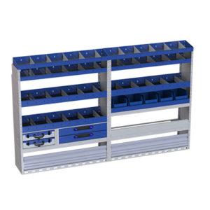 Regalsystem für Transporter Iveco Daily, linke Seitenwand - 2 herausnehmbare Werkzeugkoffer - 7 Regale - 2 Schubladen - 2 Radkastenverkleidungen