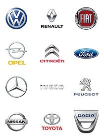 Marken von Transportern - Logo VW, Fiat, Renault, Citroën, Opel, Ford, Peugeot, Mercedes, Iveco, Toyota, Nissan, Dacia