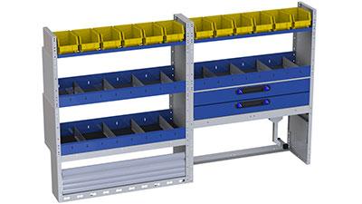 Vito Regalsystem Tecnolam Ti-Car - 5 Regale mit Trennwänden und herausnehmbaren Behälter für Kleinteil und Werkzeuge, 2 Schubladen, 1 Radkastenverkleidung mit Schwingtür