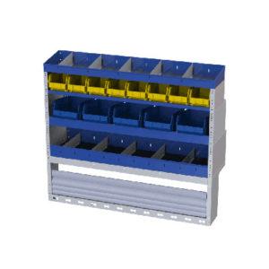 Regalssystem für die rechte Wand des VW Caddy von Tecnolam bestehend aus 13 herausnehmbaren Behältern, 2 Fahrzeugregalen und eine Radkastenverkleidungn